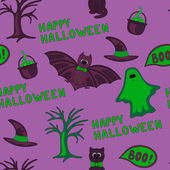 Vector Happy Halloween seamless pattern — Stock Vector