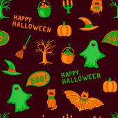 Vector Happy Halloween seamless pattern — Stok Vektör
