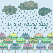 It's a rainy day with umbrellas — Stock Vector