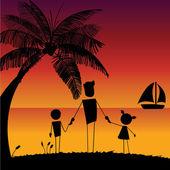 Family in the beach — Stock Vector