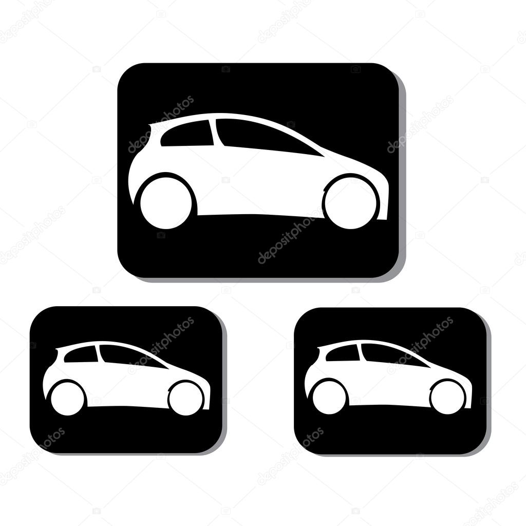Car Vector Icon Car icons in black square on