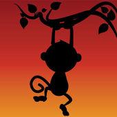 Monkey siluett — Stockvektor