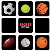 Deportes pelotas iconos — Vector de stock