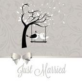 Just married birds — Stock Vector