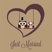 Chouettes juste mariés — Vecteur