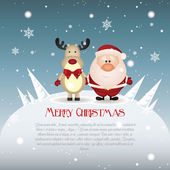 Reindeer and Santa — Stock Vector