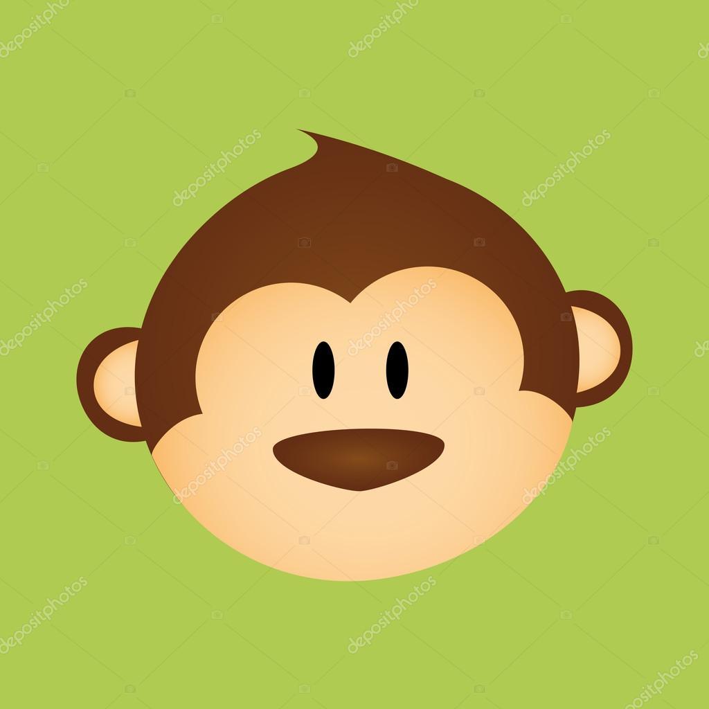 在绿色背景上的抽象可爱的猴子脸
