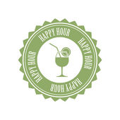 Happy hour label — Stock Vector