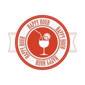 Happy hour label — Stock Vector