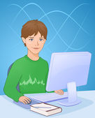 Boy with computer — Stock Vector