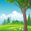 Mountain forest square background — Stock Vector