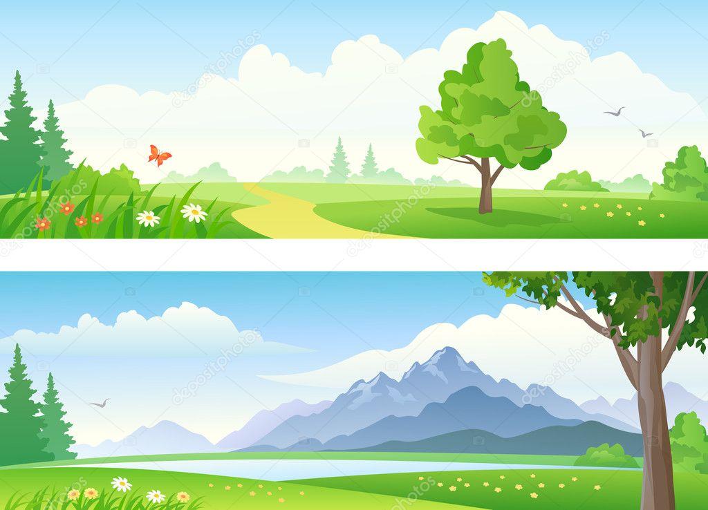 矢量美丽的风景横幅– 图库插图