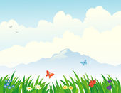 Grass and mountain background — Stock Vector