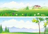 Summer landscape banners — Stock Vector