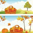 Apple harvest backgrounds — Stockvektor