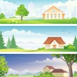 Urban and rural banners — Stock Vector