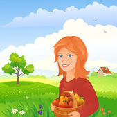 Girl in an orchard — Stock Vector