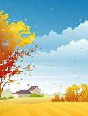 Rural autumn day — Stock Vector