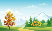 Autumn mountain forest — Stock Vector