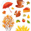 Autumn objects — Stock Vector