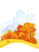 Autumn city design — Stok Vektör