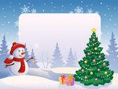 Boş bir afiş ile kardan adam — Stok Vektör