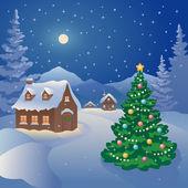 Christmas mountain village — Stock Vector