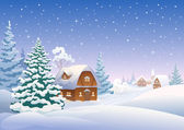 Winter village — Vector de stock
