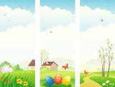 复活节和弹簧垂直横幅 — 图库矢量图片