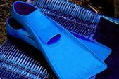 青い泳ぐフィン — ストック写真