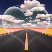 Love fantasy on the open road at a beautiful sunny day — Stock Photo