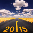 Driving on asphalt road forward to New Year — Stock Photo