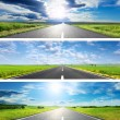 Set o the three spring roads for banners — Stock Photo