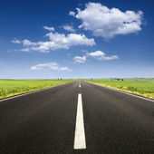 Driving on asphalt road at nice sunny day — Stock Photo