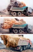 Banner - Dust explosion when loading truck at the mine  — Stock Photo