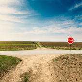 Crossroad with warning sign for priority road — Stock Photo