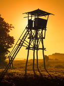 Old watchtower towards the setting sun — Stock Photo