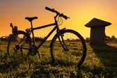 Bike on the grass field at sunset — Foto Stock