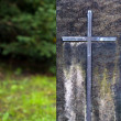 Grave stone with a cross — Stock Photo