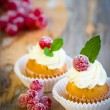 Mini cupcakes decorated with white frosting — Stock Photo