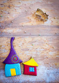 Sweet village. Colorful cookies on wooden background — Stock Photo