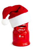 Funny letterbox with Santa Claus hat — Stock Photo