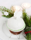 Beautiful christmas cupcake — Stock Photo