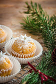 Little cupcakes decorated with powdered sugar and little gumpaste flowers — Stock Photo