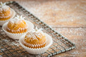 Little cupcakes decorated with powdered sugar and little gumpaste flowers — Zdjęcie stockowe