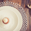 Beautiful tableware with little cupcakes — Stock Photo