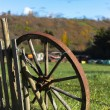 Old wheel and wooden fence — Stock Photo #44296917
