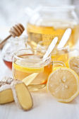 Ginger lemon tea and honey — Stock Photo