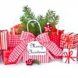 Stock Photo: Christmas presents in red and green