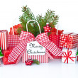 Christmas presents in red and green — Stock Photo